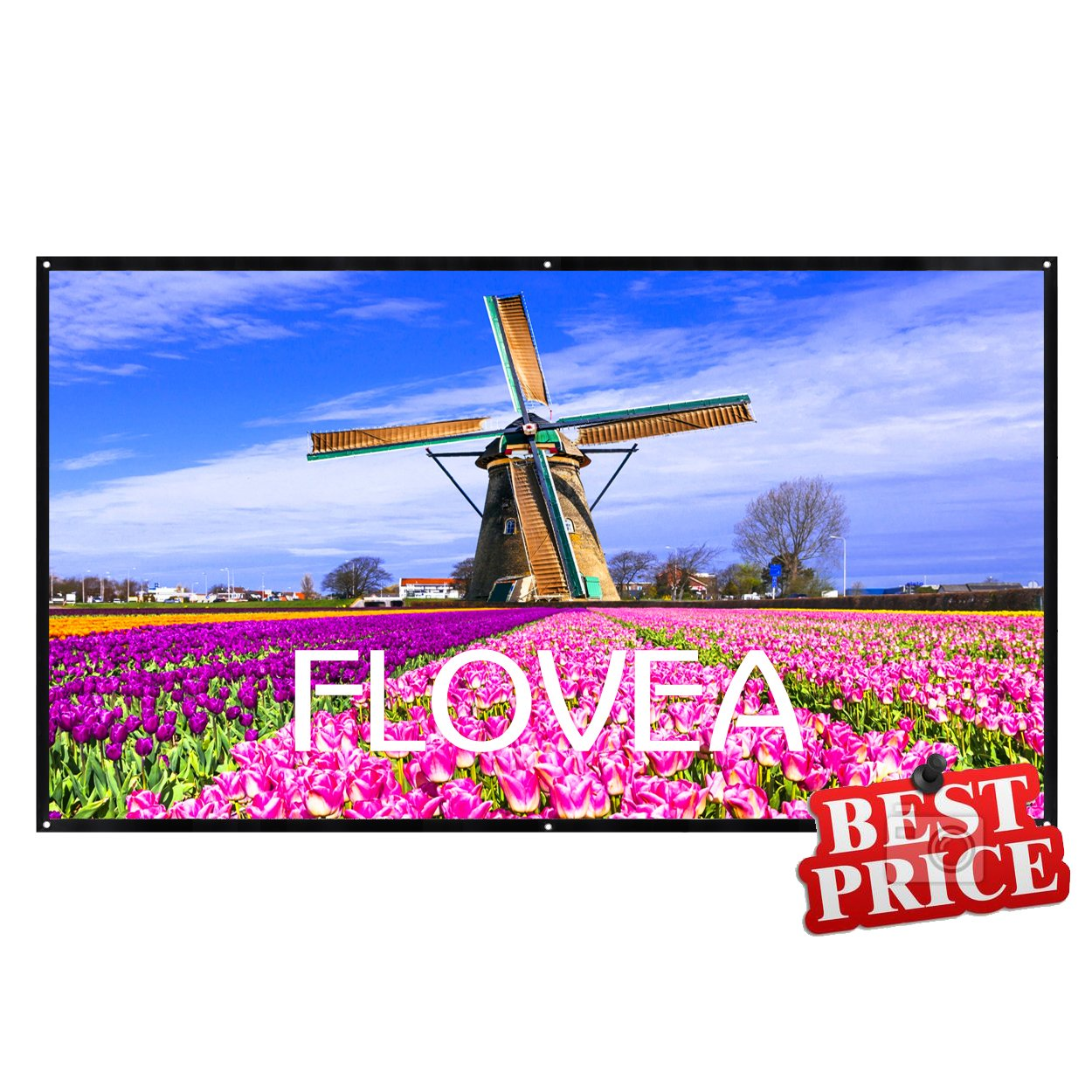 84 inch Projector Screen,16:9 Outdoor Portable Foldable Movie Screen, FLOVEA Home Cinema Theater Movies, Business Presentation, Education Training, Outdoor Public Display