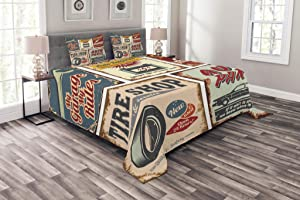 Lunarable 1950s Bedspread, Vintage Car Signs Automobile Advertising Repair Vehicle Garage Classics Servicing, Decorative Quilted 3 Piece Coverlet Set with 2 Pillow Shams, Queen Size, Burgundy