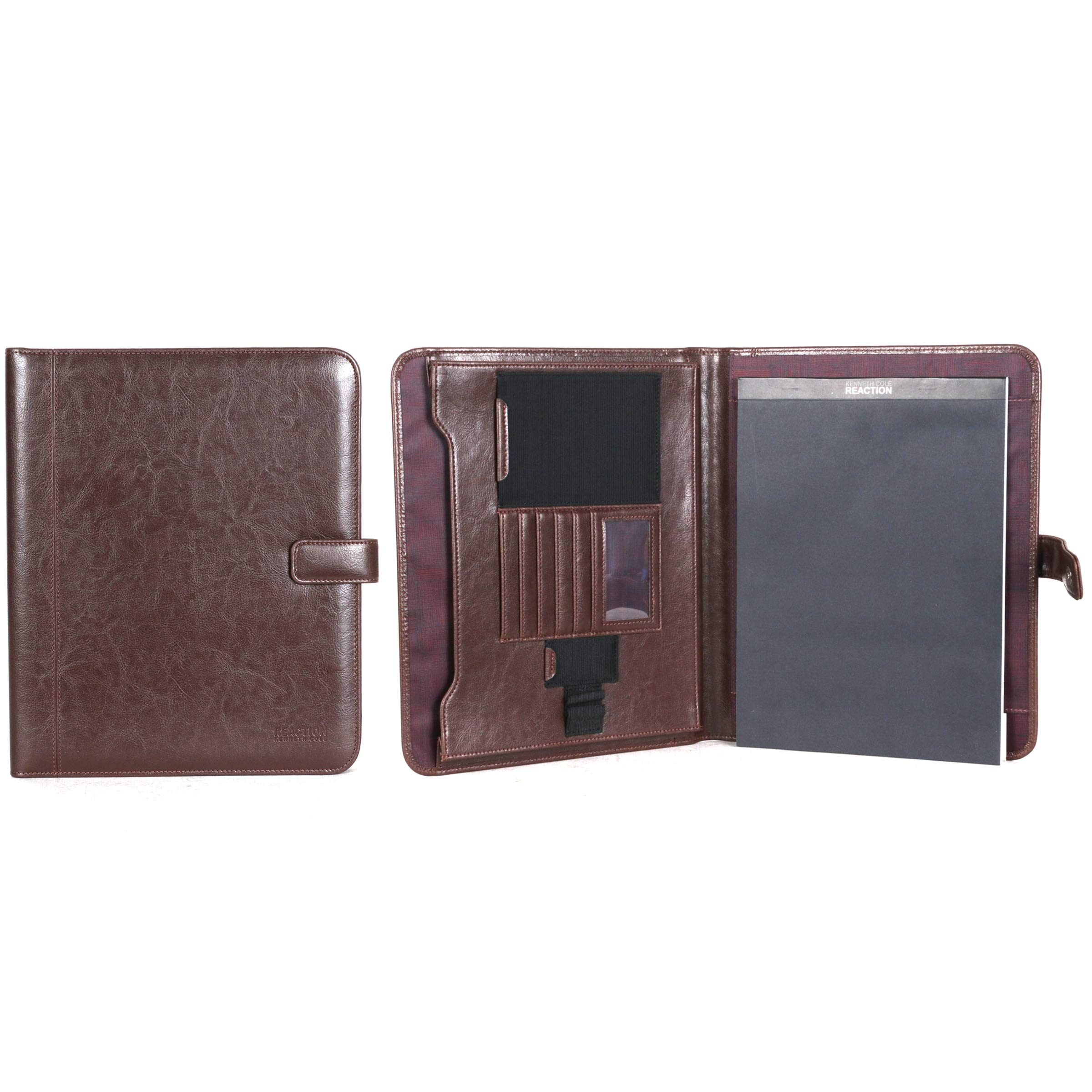 Kenneth Cole Reaction Faux Leather Standard Bifold Writing Pad with Business Organizer, Brown