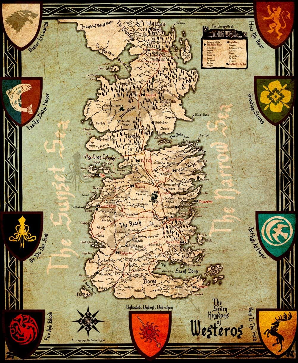Amazon Com Wall Decor Master Game Of Thrones Houses Map Westeros And Free Cities Poster Home Deco On Silk 28 Inch X 24 Inch Posters Prints