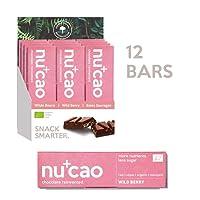 nucao Vegan Organic Superfood Bar – Wild Berry – Raw Nutritious Chocolate Based on Hemp Seeds & Raw Cocoa [Pack of 12   Paleo Bar   Low Sugar   Plastic-Free]