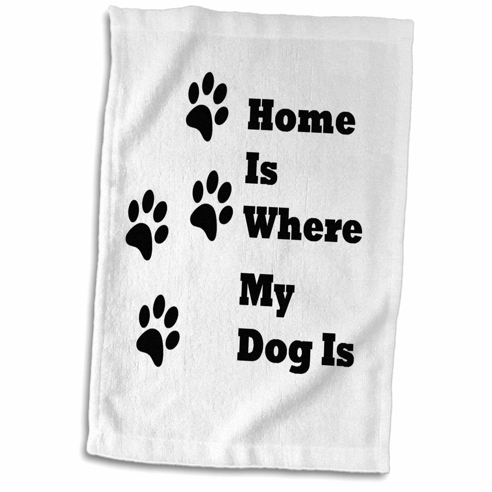 3D Rose Image of Home is Where My Dog is with Paw Prints Hand Towel, 15'' x 22''
