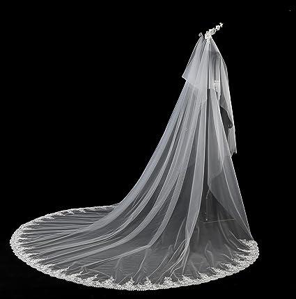6ec40bb0a5d2 Ei iLI velo da sposa lungo velo di pizzo da sposa corona a cinque metri  artigianali composizioni