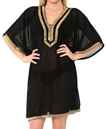 1f8b904391 LA LEELA Coverup Beach Bikini wear Swimsuit Caftans Dress Women Embroidery  at Amazon Women's Clothing store:
