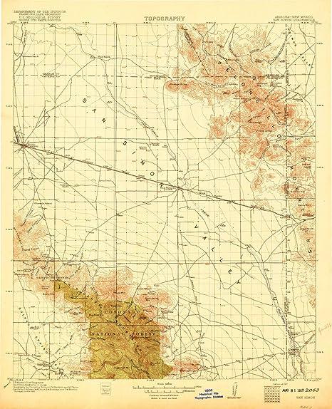 Amazon.com : YellowMaps San Simon AZ topo map, 1:125000 Scale, 30 X ...