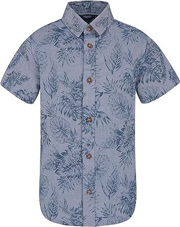 Mountain Warehouse Camisa para niños Chambray - 100% algodón, protección UV, Liviana - Mejor para Vacaciones de Verano, Viajes, Playa y Caminar Azul Denim 7-8 Años: Amazon.es: Ropa y accesorios