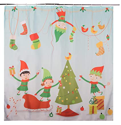 Juvale Christmas Shower Curtain With Hooks