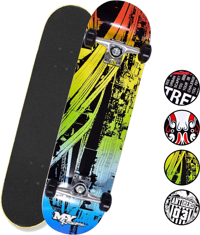 M.Y X-Skate Complete Skateboard 31 Double Kick Beginner Skateboard