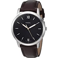 Fossil FS5464 Reloj para Hombre, Correa Piel Café, Caratula Negro, Análogo