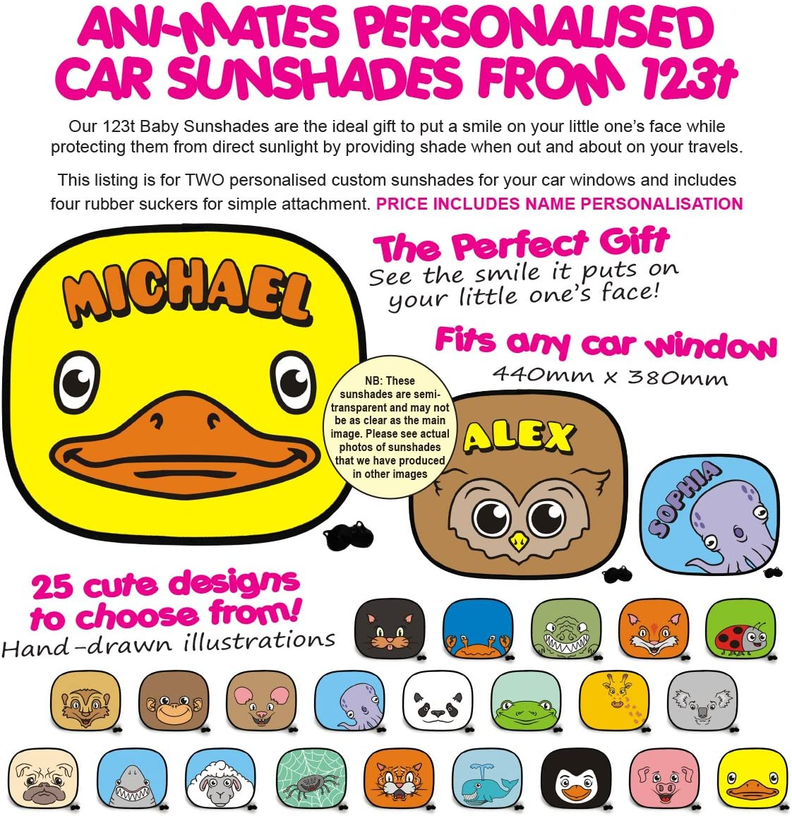 Sheep Plain Baby//Child Vehicle Car Sunshade x 2 Birthday Funny Gift for him for her