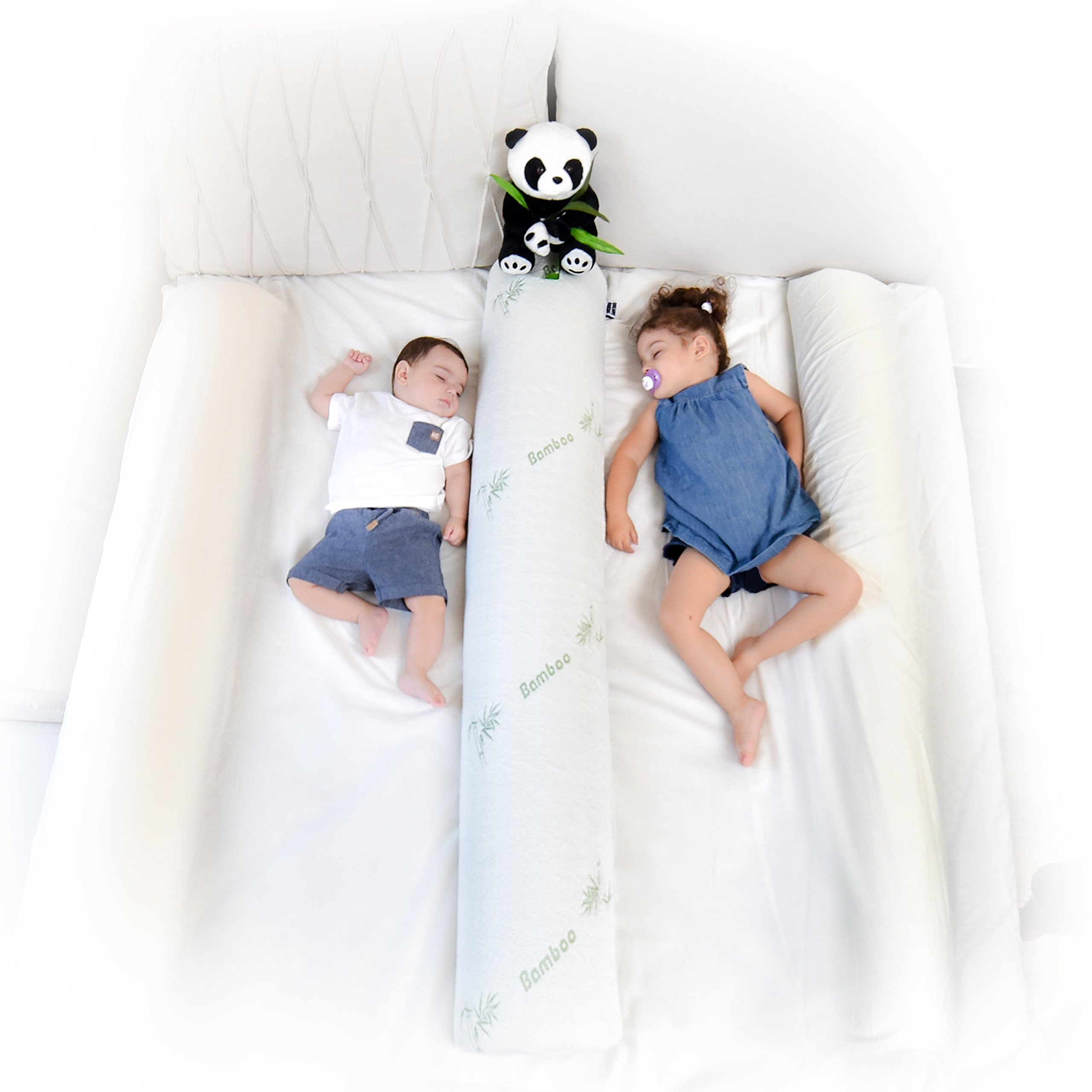 (2-Pack) DreamyPanda Toddler Bed Rail Bumper/Foam Guard for Bed - Large - Side Rail with Bamboo Cover - Pillow Pad for Toddlers, Kids [White Bamboo] by DREAMYPANDA