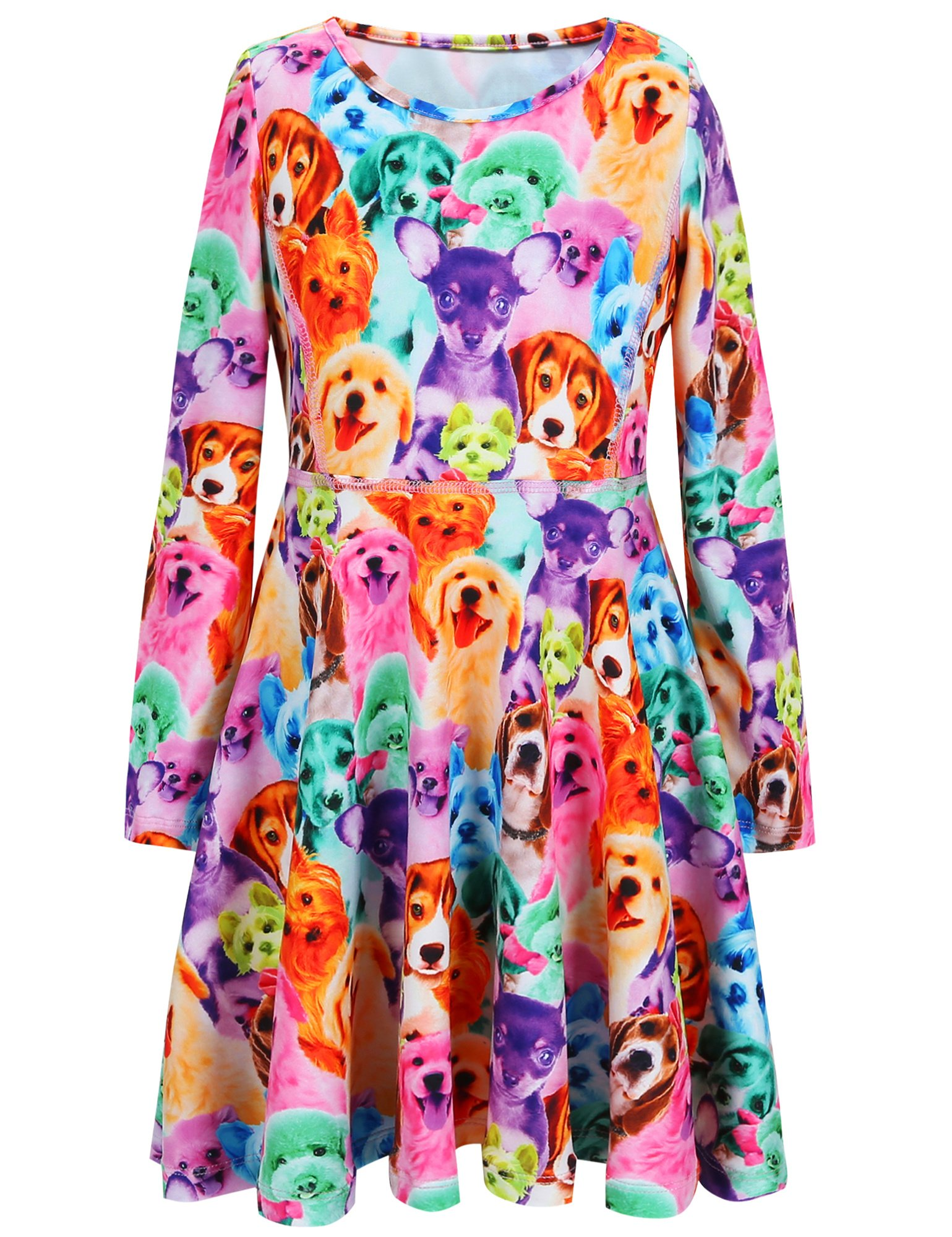 Jxstar Cartoon Girls Dress Cute Clothes Birthday4T 5T Casual Holiday Dog 110 Rainbow Dog Fall 3-4Years Height 41in