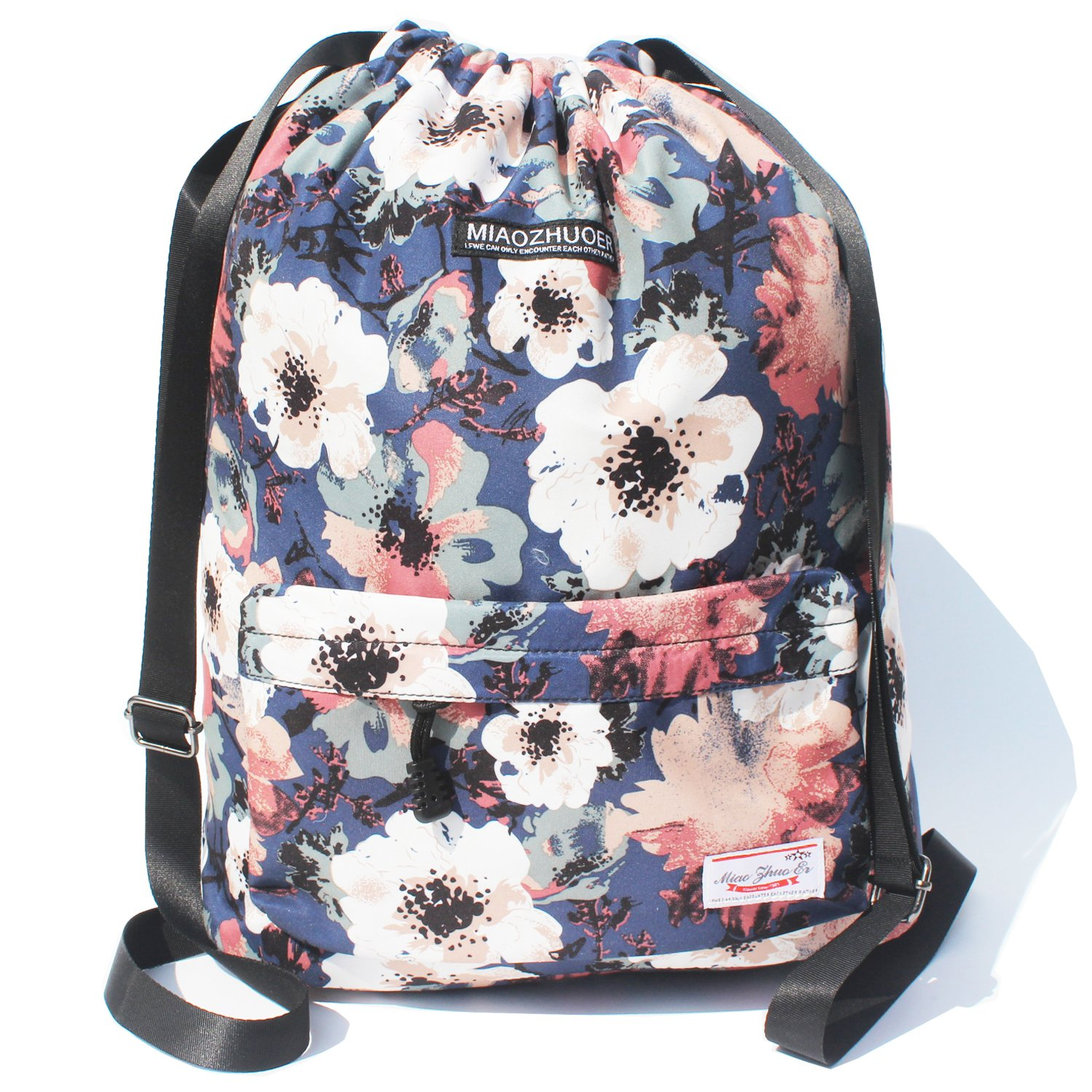 Drawstring Bag Original Floral Backpack for Travel School Gym Beach 2 Sizes