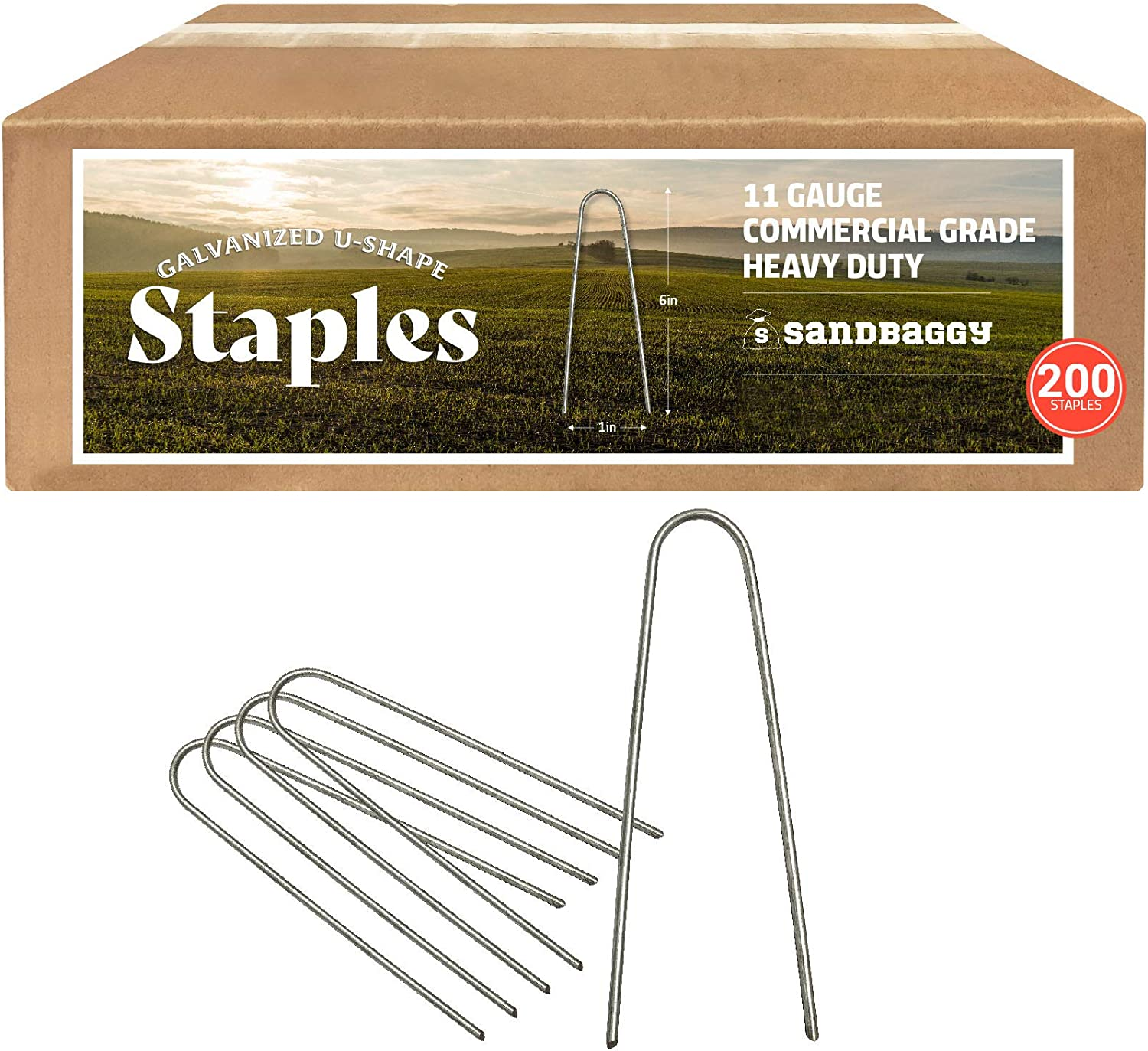 Sandbaggy Galvanized 6 Inch Round Top Landscape Staples ~ SOD Garden Stakes for Drip Irrigation Tubing & PVC Piping - Trusted by Farmers & Contractors Across USA (200 Staples)