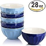 DOWAN 28 Ounce Porcelain Bowls Set for Cereal/Soup - Set of 6, Assorted Colors