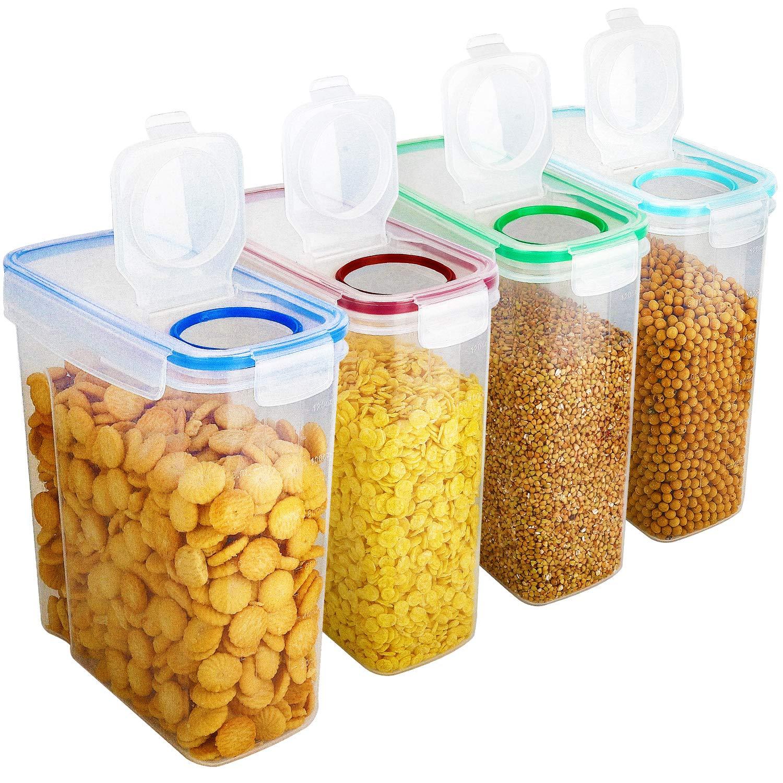 le riz et plus id/éal pour la farine 100/% herm/étiques pour aliments secs Lot de 4 bo/îtes de conservation pour c/ér/éales Distributeur sans BPA le sucre