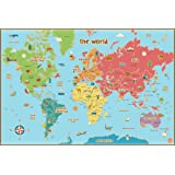 Wall Pops  WPE0624 Kids World Dry Erase Map Decal Wall Decals