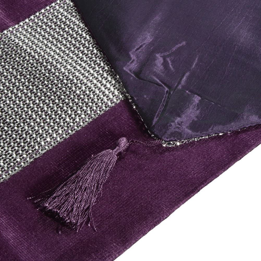 Labellevie Set of 5 New Shinny Bling Thick Velvet Tassel Table Runner Together With 4 Pieces Placemat Black