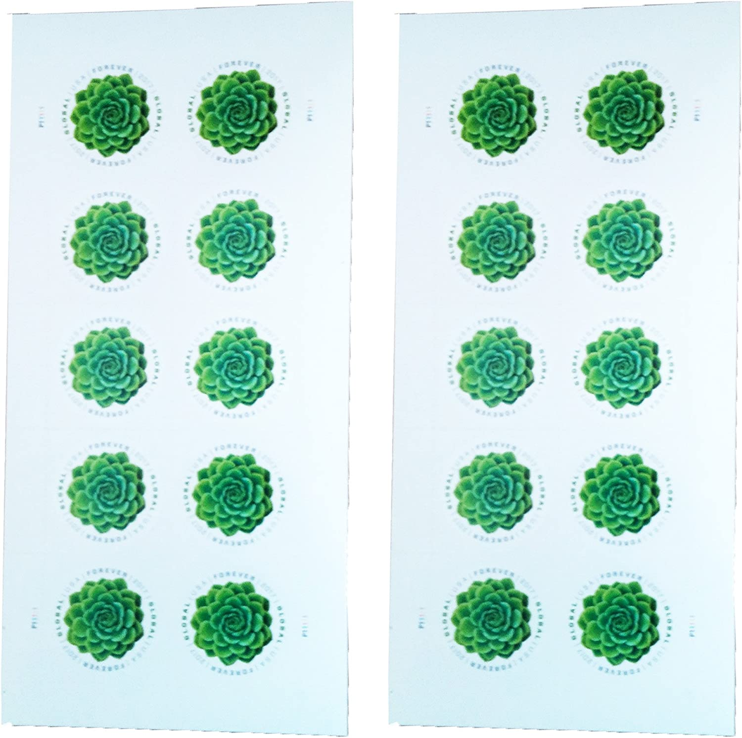 Green Succulent Sheet of 10 Global USPS First Class International Forever Postage Stamps (2)