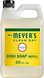 product image for Mrs. Meyer's Clean Day Liquid Dish Soap Refill, Cruelty Free Formula, Honeysuckle Scent, 48 oz