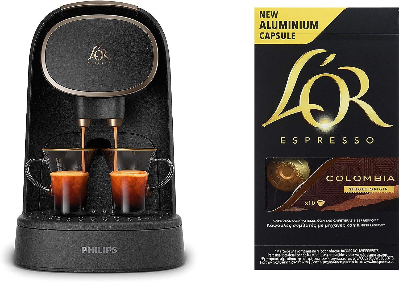 Pack Philips LOR Barista LM8016/90 - Cafetera compatible con cápsula individual/doble, 19 bares presión, depósito 1L, acabado Premium + LOr Espresso Colombia 5 paquetes 10 cápsulas: Amazon.es: Hogar
