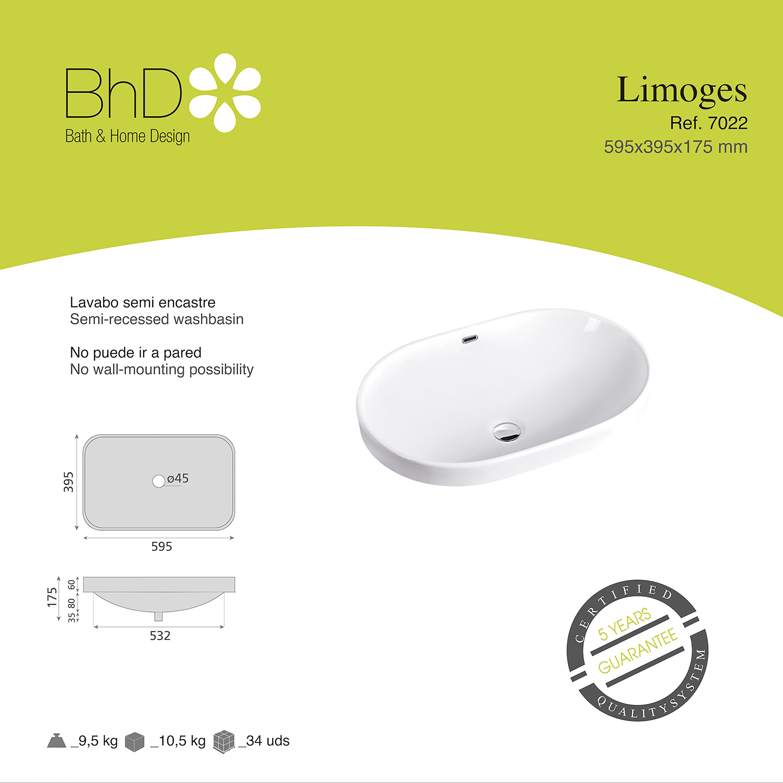 BHD 7022–Ceramic Sink, White