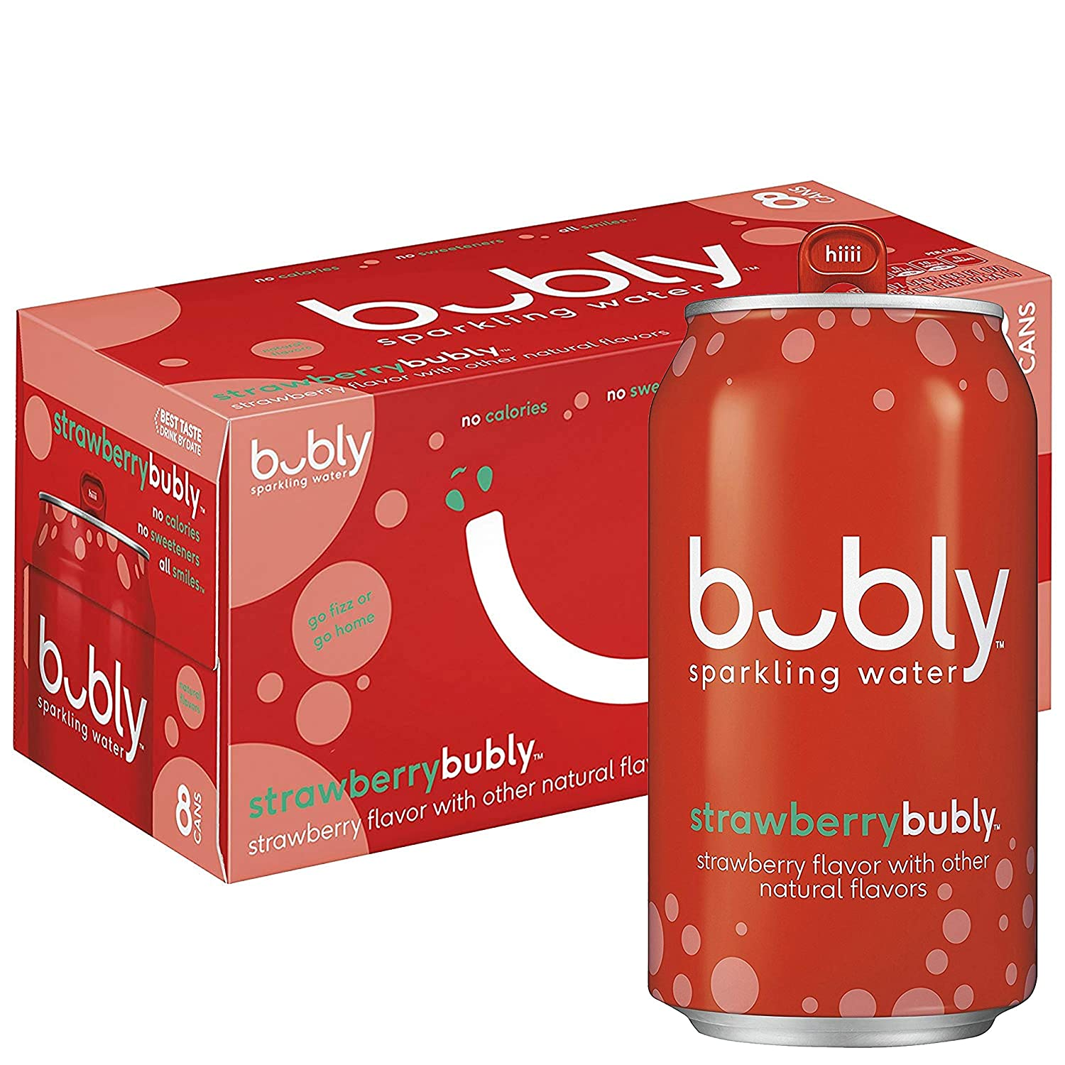 Bubly Sparkling Water, Strawberry, 12 Fl Oz (pack of 8)