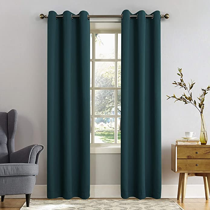 "95""x40"" Kenneth Energy Saving Blackout Grommet Top Curtain Panel Window Teal - Sun Zero"