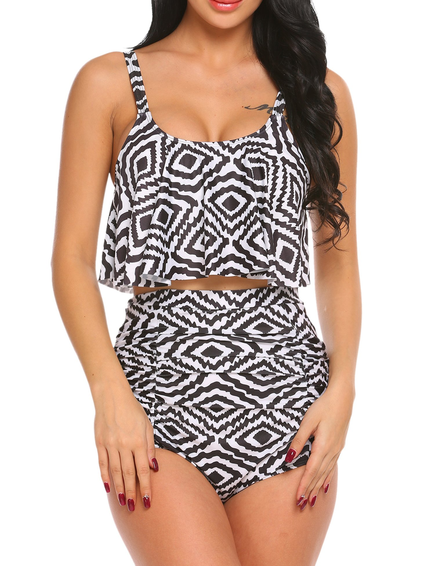 dce30d0cc96 ADOME Tummy Control Swimsuits for Women Ruffled High Waisted Bikini Set  Floral Printed Plus Size Swimwear