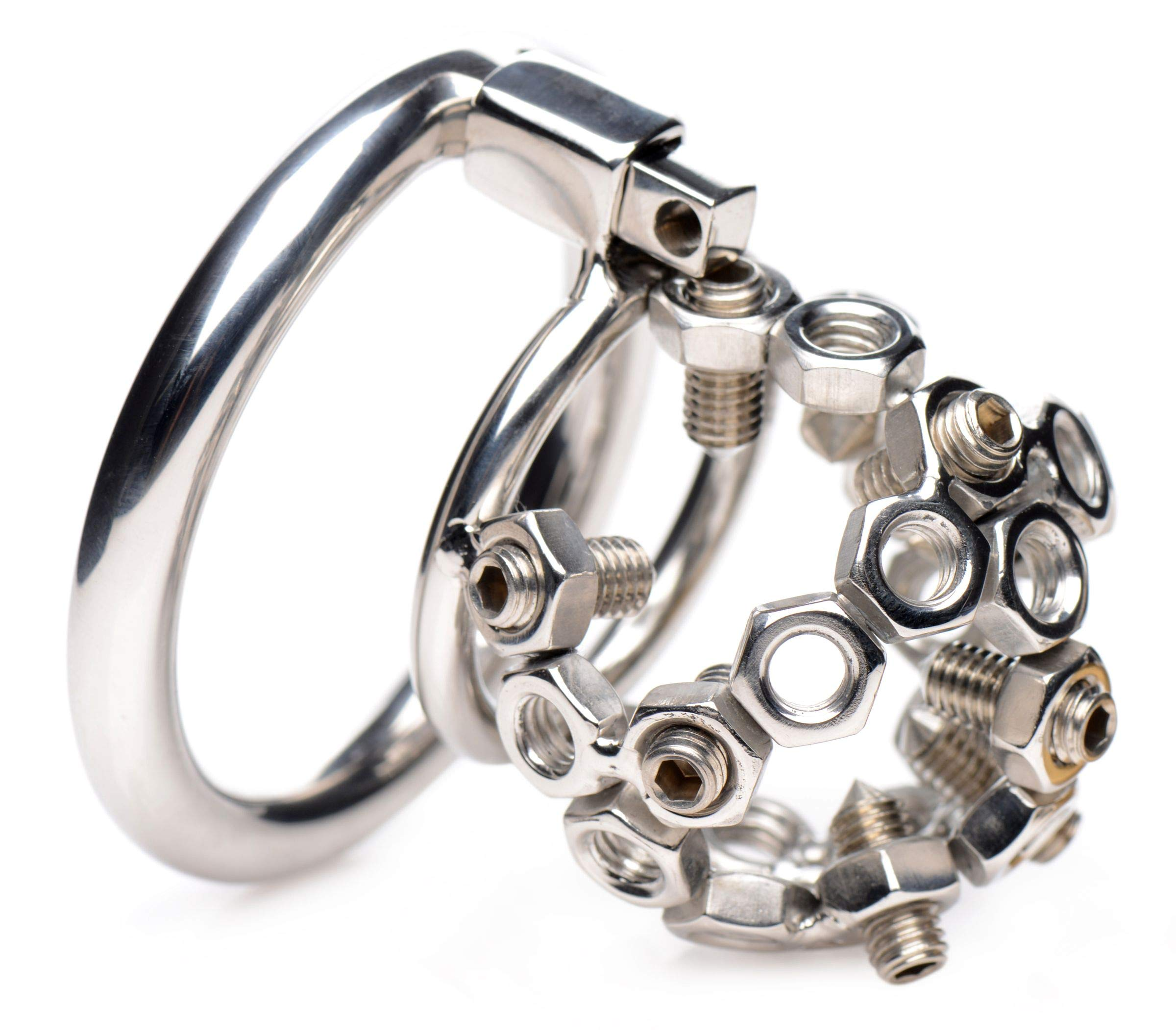 Master Series Bolted Stainless Steel Chastity Cage with Spikes, 1 Count by Master Series