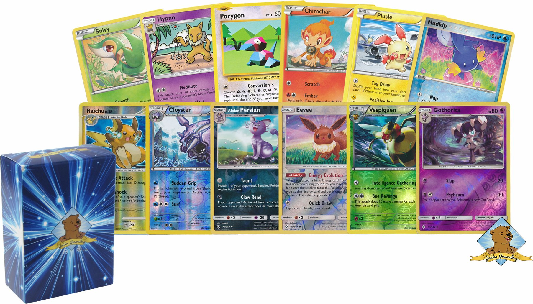 100 Assorted Pokemon Cards with 8 Reverse Foils! Includes Golden Groundhog Box!