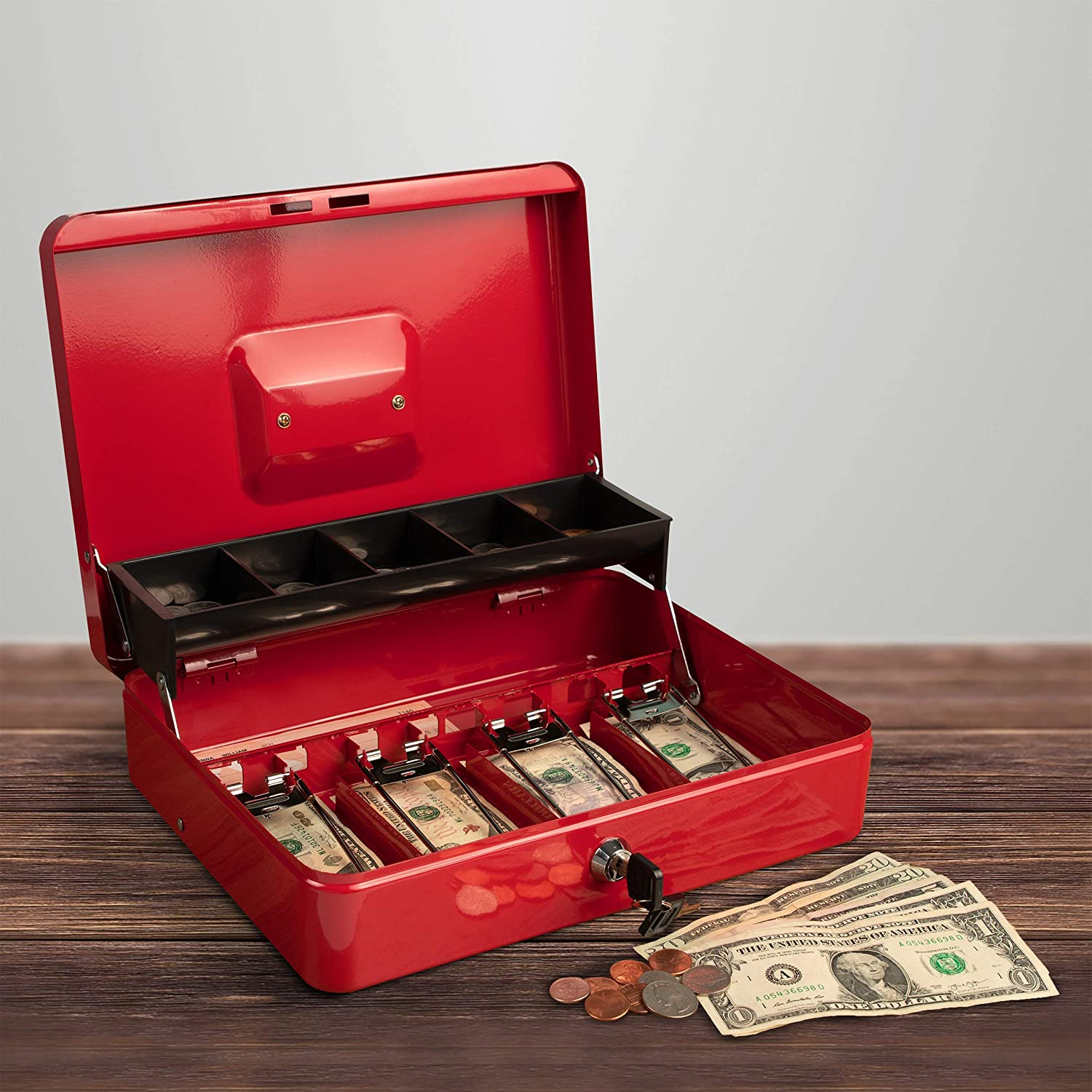 Red M Portable Sturdy Metal Money Box Cash Box with Coin Tray Petty Cash