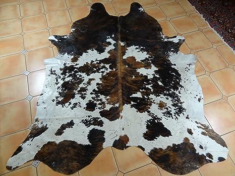 Peau de vache tricolore Tapis Marron Noir et blanc Peau de vache ...
