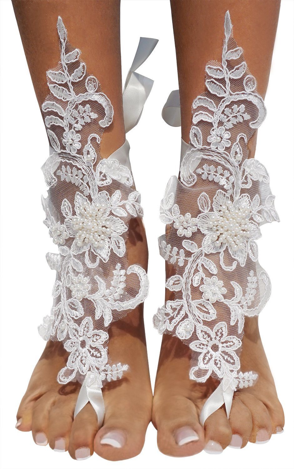 Bellady 2 PCS Crochet Barefoot Sandals Lace Anklet Bangles Beach Wedding Accessories,White