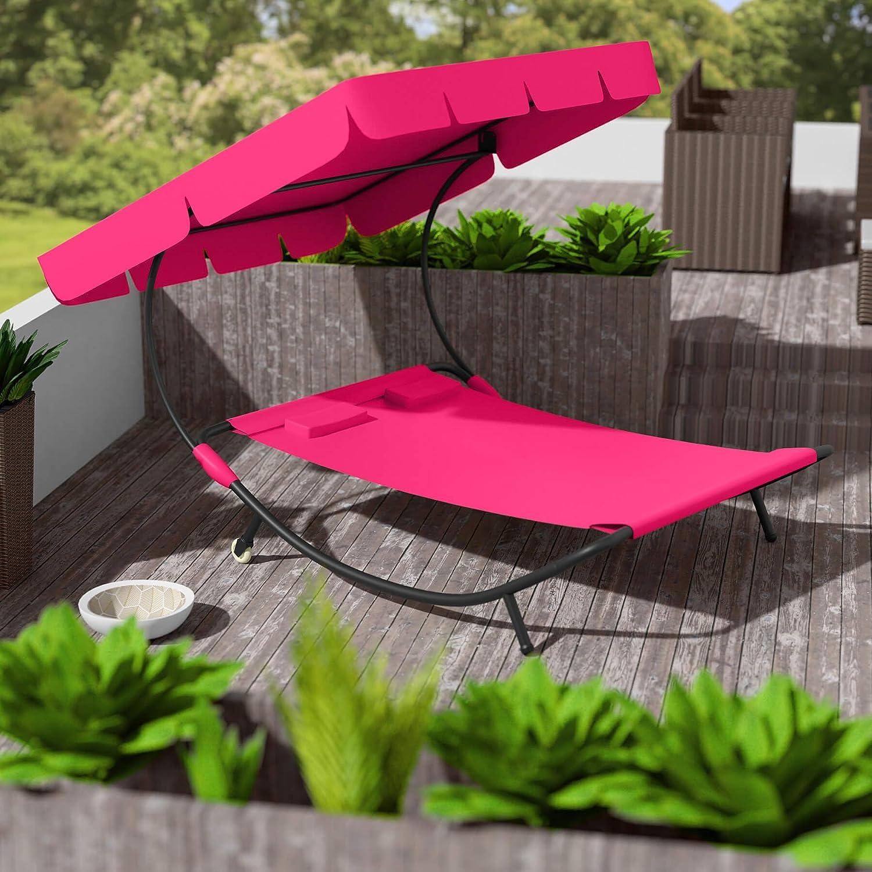TecTake Tumbona Tumbona de jardín tumbona doble con toldo + 2 Cojín | para 2 personas | - Varios colores de, Magenta | Nr. 401498: Amazon.es: Hogar
