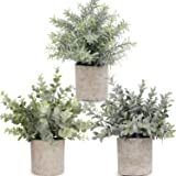 Artificial Potted Plants Mini Fake Eucalyptus Plant, Small Plastic Green Plant with Pot, Faux Rosemary Plants for Home…