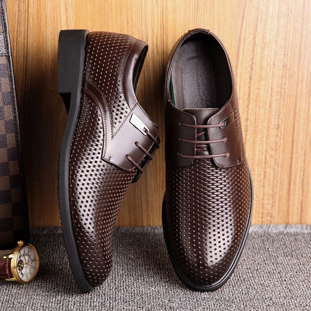 LEDLFIE Echtes Fashion Leder Schuhe der Männer Hohl Breathable Fashion Echtes Lace-up Schuhe Braun 764a5c