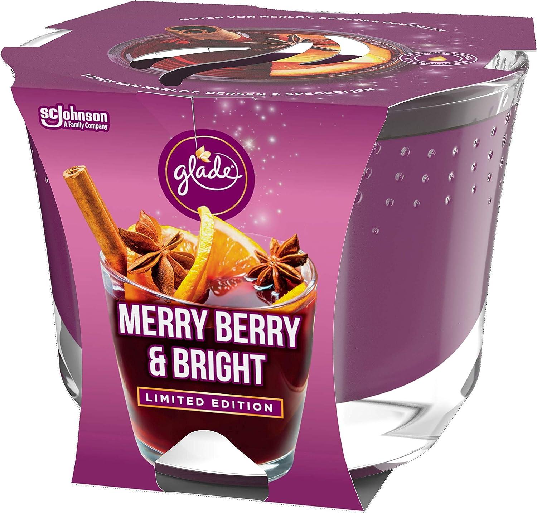4 unidades hasta 39 horas de combusti/ón bayas rojas, vino caliente, barras de canela Glade Brise Vela arom/ática duradera en cristal Merry Berry /& Bright