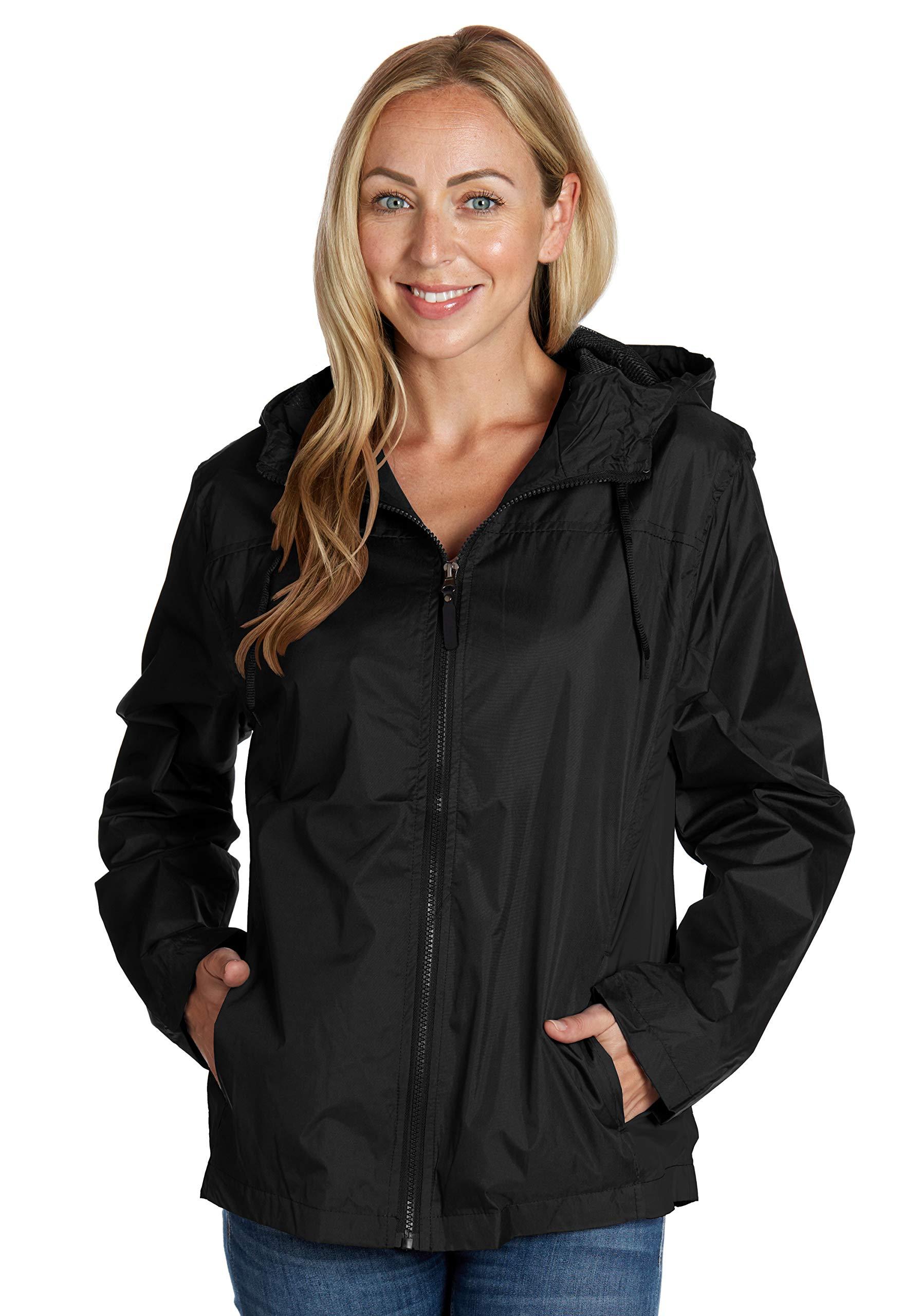 Equipment De Sport USA Womens Golf Jacket Black Hooded Small Windbreaker
