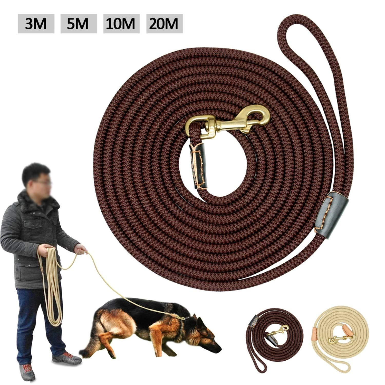 Nylon Leash - 6 Nylon Leash - Dog Tracking Leash Nylon Long Leads Rope Pet Training Walking Leashes, Light, Big, Safe, Durable, Set Cute, Puppy, Soft, Lightweight, Heavy, Thick. (20M, Beige)