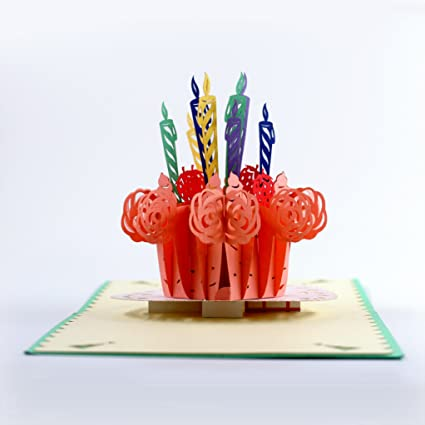 Amazon cutepopup 3d birthday cake candle popup greeting cards cutepopup 3d birthday cake candle popup greeting cards happy birthday card handmade birthday gift for any m4hsunfo