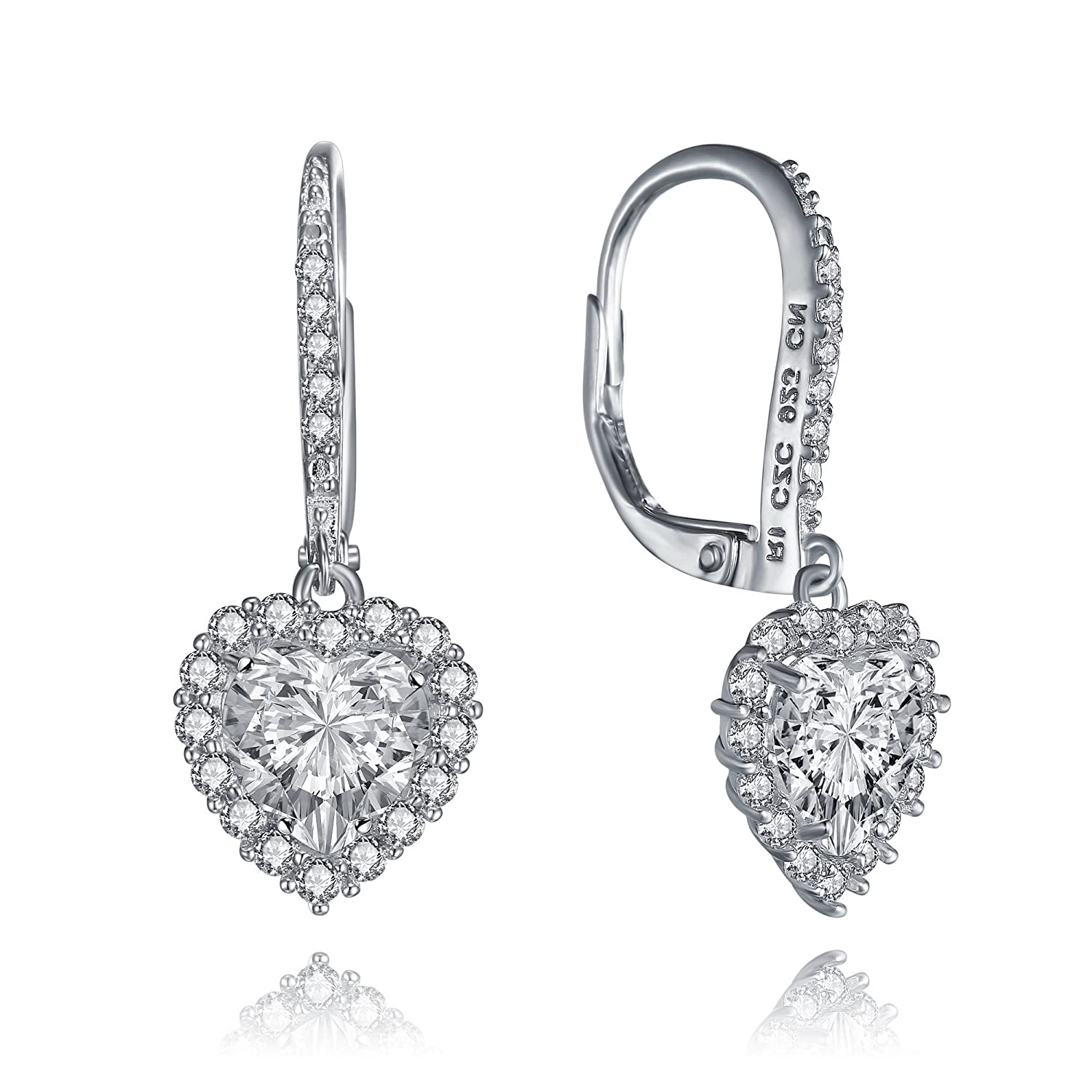 Amazon Sterling Silver Bridal CZ Heart Drop Earrings by Lux and