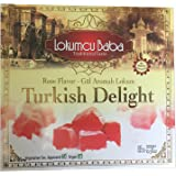 Turkish Delight with Rose Flavor, Sweet Confectionery Gourmet Gift Box Candy Dessert 10.5 oz, Halal Turkish Delight