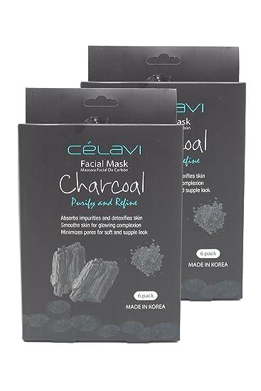 Celavi Essence Facial Mask Paper Sheet Korea Skin Care Moisturizing 6 Pack (Charcoal 2 Pack