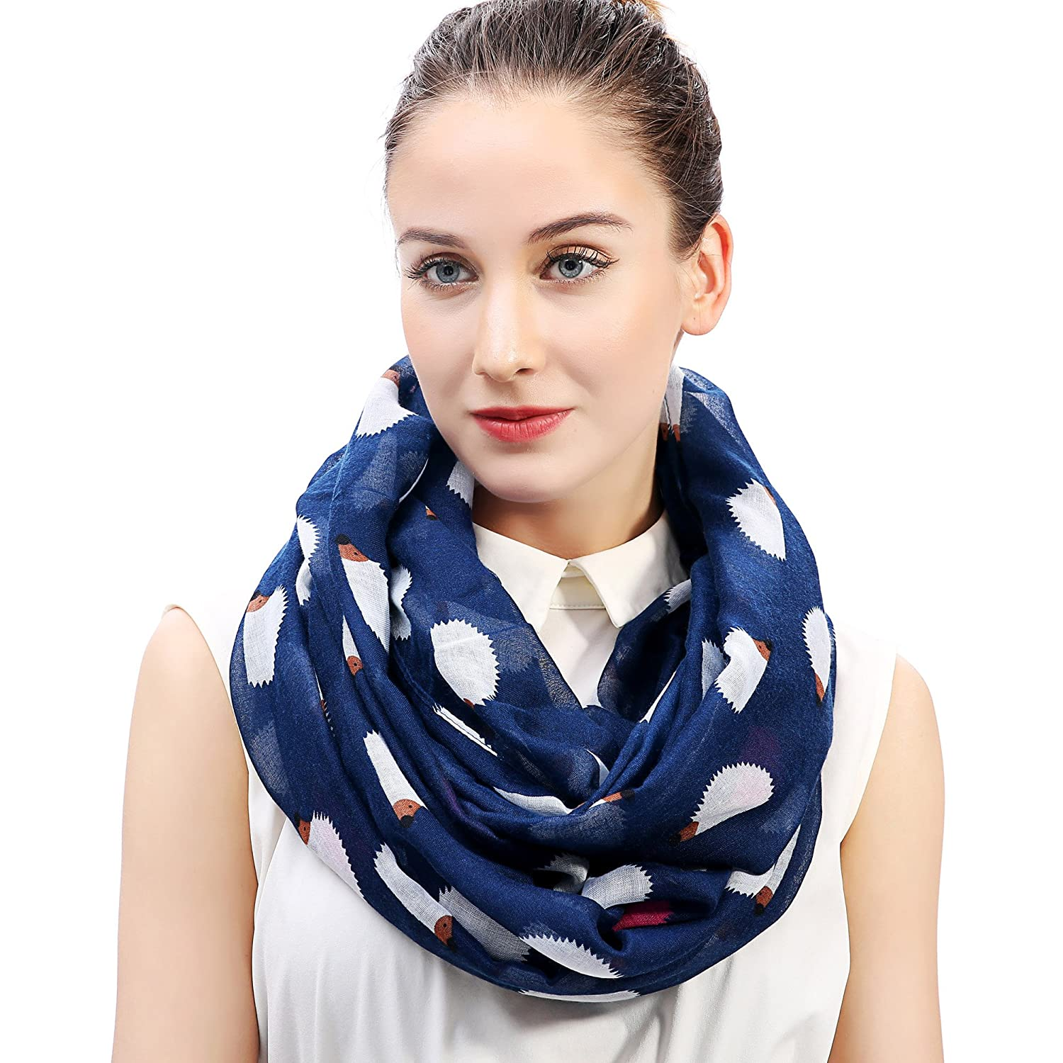 Lina & Lily Hedgehog Print Women's Infinity Loop Scarf (Grey)