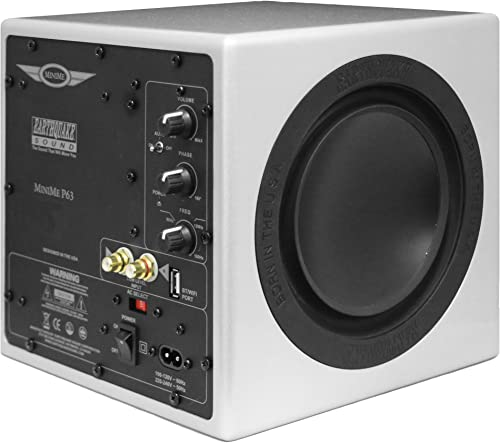 Earthquake Sound MiniMe-P63 Compact 6.5-inch Powered Subwoofer with Dual Passive Radiators, Silver