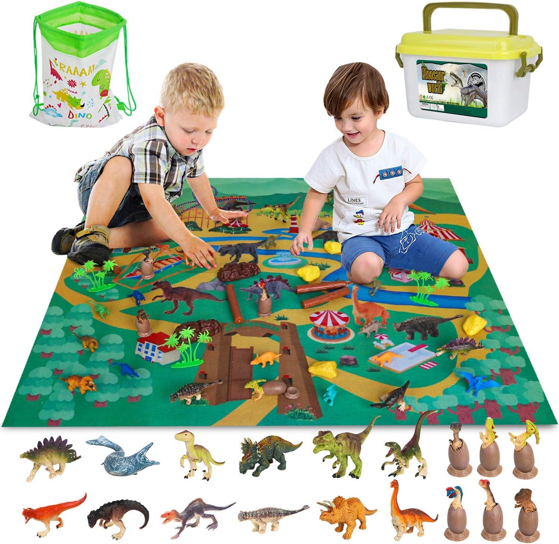 Vanplay Juguetes Dinosaurios Huevos de Dinosaurio con Tapete de Juego y Caja de Almacenamiento para Niños 53 Piezas