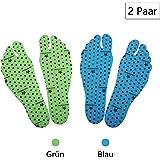 Nakedfeet Unisex 2 Paar (4 Stück) Hautfreundliches Fußsohlentape / Klebesohlen Zum Barfußlaufen In Blau Und Grün in Größe M ( 19-25 CM) Von Amathings