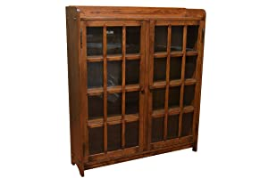 Crafters and Weavers Mission Oak Bookcase with 2 Glass Doors