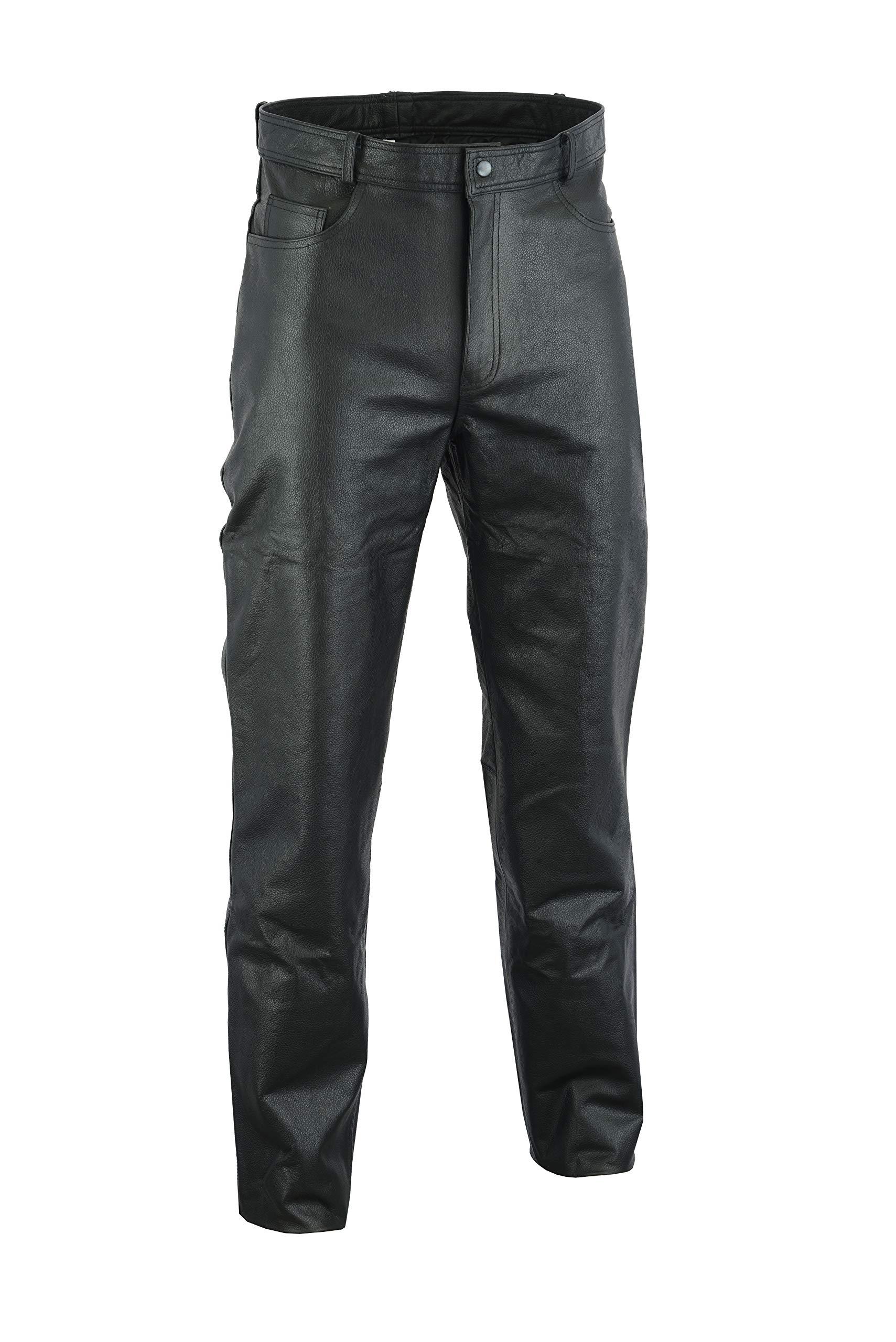 968b15545495b Ruja Mens Genuine Leather Black Pants (32 W)